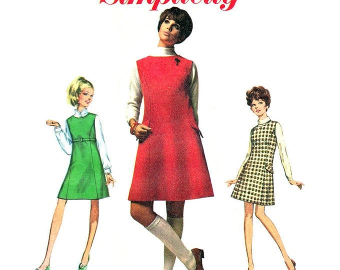 1960s Princess Seam Jumper Pattern Simplicity 7824 Side Belts Junior Petite Bust 33