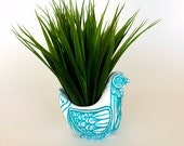 Ceramic Bird Vase Blue White Folk Art Planter Home Decor Painted Tattoo Aqua Turquoise - MADE TO ORDER