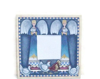 Chickens And Angels on Hand Painted Mirror
