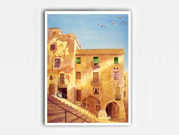 Spanish Landscape Art Watercolor Print / Roman arch architecture windows / Color field yellow blue wall decor painting  L