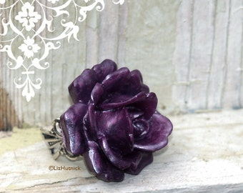 Big Purple Rose Ring, Novelty Ring, Stage Wear