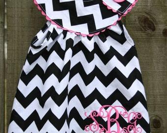 Chevron dress, boutique clothing, handmade, monogrammed dress