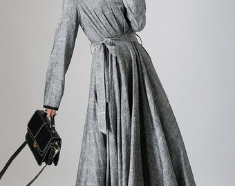gray dress, linen dress, maxi dress, long sleeves dress, fall dress, tie belt dress, pleated dress, womens dresses, casual dress (792)