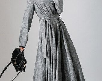 Linen causal maxi women dress in gray (792)