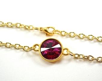 Dark Pink Crystal Gold Chain Bracelet Pink Chain Bracelet Swarovski Crystal Bracelet Gold Pink Bracelet
