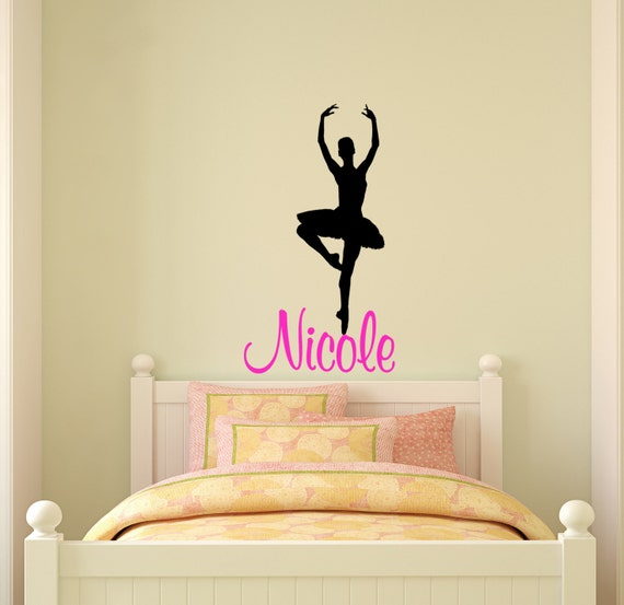 Ballerina wall decal name wall sticker girls by for Ballerina wall mural