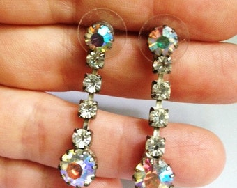 Vintage - Rhinestone Dangle Earrings - Posts - Gorgeous Bling