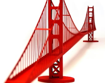 Golden Gate Bridge, paper model kit with pre-cut details || 46 inches long || red color