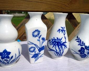 Set of Four Little Blue Floral Vintage Vases