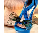 Wedding Shoe Clips. Peacock Feathers Bow. Bride Bridal Bridesmaid, Steampunk Sophisticated, Teal Emerald Green Metallic Rhinestone or Pearl