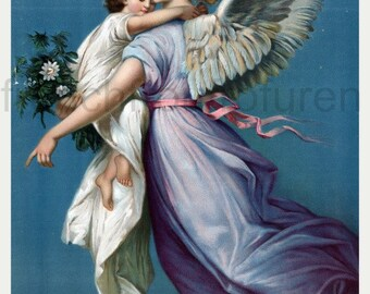 antique victorian illustration catholic religion angel of peace DIGITAL DOWNLOAD