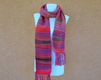 Unforgettable Scarf: WINERY Scarf for Women in shades of wine, pink, purple and red - Crocheted, Crochet Warm, Long Scarf for Ladies, Women