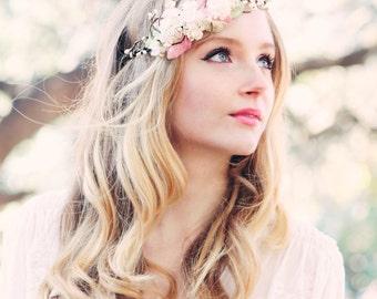 bridal flower crown, wedding hair accessories, wedding flower wreath silk flower headband