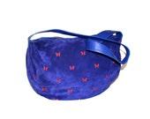 BOTTEGA VENETA Vintage Large Handbag Purple Suede Red Cut Out Butterfly Hobo Tote - AUTHENTIC -