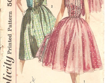 1950s Shirtdress and Jacket - Vintage Pattern Simplicity 1988 - Shirtwaist