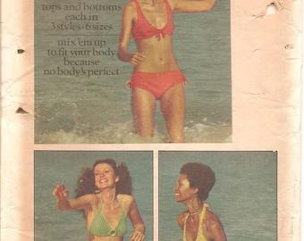 1970s Womens Bikini & Two Piece Swimsuit - Vintage Sewing Pattern Butterick 6674 - Multi Size FF UNCUT