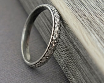 Floral Wedding Band, Sterling Silver Stacking Ring, Floral Stacking Ring