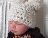 Fisherman Cream.... Super Chunky.... Pom Pom Hats..... Baby Girl...Baby Boy.... 3 sizes...Newborn, 0 to 3 Month & 3 to 6 Month
