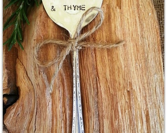 Garden Marker, Parsley, Sage, Rosemary & Thyme, Spoon Marker, Hand Stamped, Vintage Spoon, Herbs Stake, Upcycled Silverware, Gardener Gift,