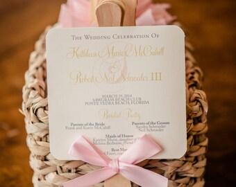 Wedding Program Fan, Blush Program Fans, Beach Wedding Program, Flourish Program Fan, Blush and Gold Fan - Pink Orchid Fan Sample