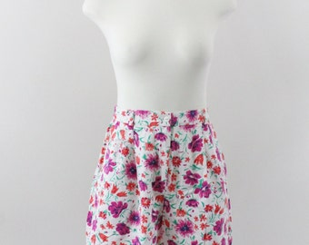 high waisted shorts - 80s floral denim shorts - the 80s clothing