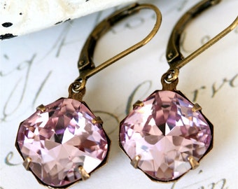 Light Amethyst Swarovski Cushion Cut Earrings, Amethyst Crystal Earrings, Estate Style Earrings, Radiant Orchid