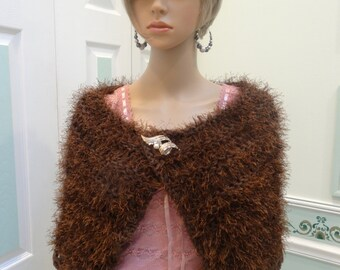 BROWN , CAPE / WRAP, Chocolate brown,  hand knitted in double worsted weight yarn and matching fun fur with removable brooch