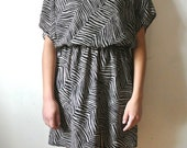 Vintage Zebra Print Dress 1980s Costume Size Medium Large X-Large Gift For Her