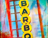 Retro BBQ Sign, Fine Art Photo, Restaurant Art, Red Yellow, Vintage Sign, Fort Worth Texas, Neon Sign, Kitchen Decor, Abstract Art, Photo
