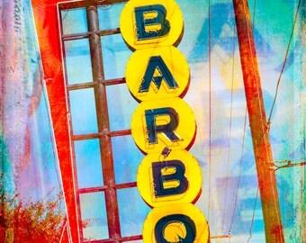 Fine Art Photography, BBQ Sign, Restaurant Art, Wall Art, Vintage Decor, Fort Worth Texas, Neon Sign, Kitchen Decor, Abstract Art, Retro