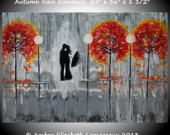 "Made to Order Large 24"" x 36"" Original Impasto Painting Autumn Rain Romance Amber Elizabeth Lamoreaux Fall Silhouette Couple Rainy"