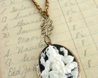 Locket Necklace - Elephant Necklace - GANESHA - Vintage Brass jewelry - Black and White Necklace - handmade jewelry