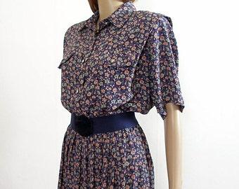 Vintage 1980s Dress Navy Floral Silky Shirtwaist Dress / U.S. Size 12