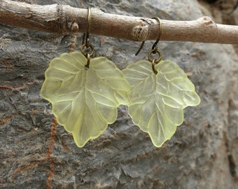 Yellow Leaf Dangle Earrings, dainty lightweight light yellow frosted maple leaf elf or fairy cosplay costume jewelry