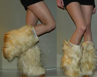 vintage fur muck luck boots 6.5 70s apris ski boots