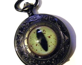 Steampunk Pocket Watch Glass Cthulhu Dragon Cat Eye Black Gun Metal Noir Gothic