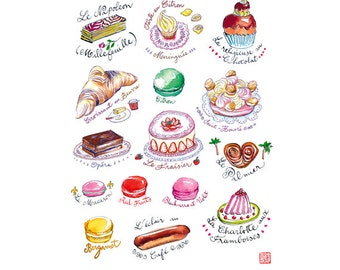 French decor, French pastry print, Kitchen art, Cute cake poster, Food art print, Kitchen decor, Kitchen wall art, 8X10 print, Digital print