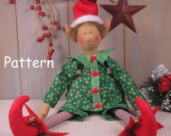 PDF E-Pattern #37 Christmas Elf Vintage Style Primitive Raggedy Cloth Doll Folk Art Sewing Craft