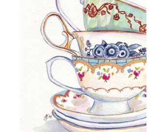 Teacups Still Life Watercolor Painting - Stack of Tea Cups Watercolor Art Print, 5x7 Print