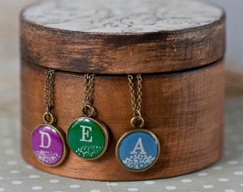 Personalized Necklace - Bridesmaids Set - Initial Pendant