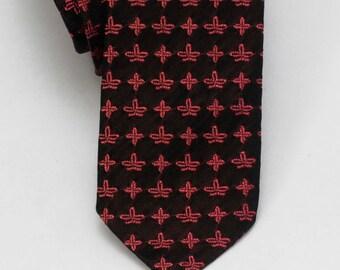 Skinny Vintage Necktie Black and Pink 1960's Tie