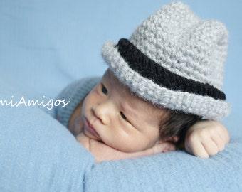 Crochet Little Man Gray Fedora Hat (Newborn)