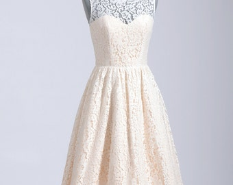 Cotton lace wedding dress in tea length, sleeveless cotton lace
