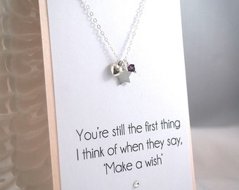 Wish on A Star silver necklace 925 sterling silver necklace custom birthstone heart + star necklace girlfriend wife anniversary gift ideas
