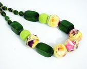 Green Necklace Evening Necklace Felted Multicolor Necklace