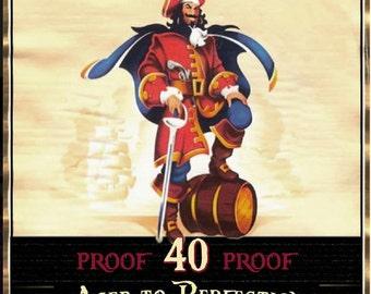 DIY print Captain Morgan style invitation, pirate diy print adult invitation,Captain Morgan invite,Surprise party invitations,