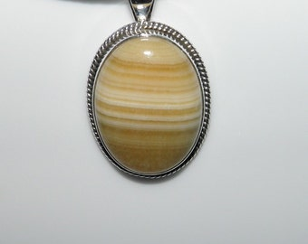AGATE Necklace Genuine Gemstone Golden Yellow And Cream Banded Agate Pendant In Sterling Silver Setting Statement Necklace Handmade Jewelry