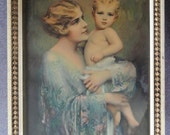 Mother with Child, vintage Mothers Day Gift, Nursery wall art, framed wall art, 1940s litho, vintage nursery art