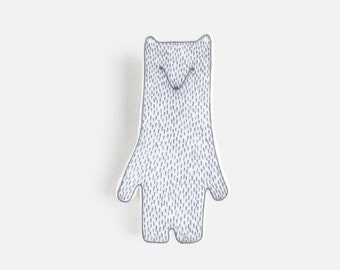 Polar Bear Brooch - pin badge laser cut jewellery decoration white black grey gray mothers day birthday gift Christmas stocking filler