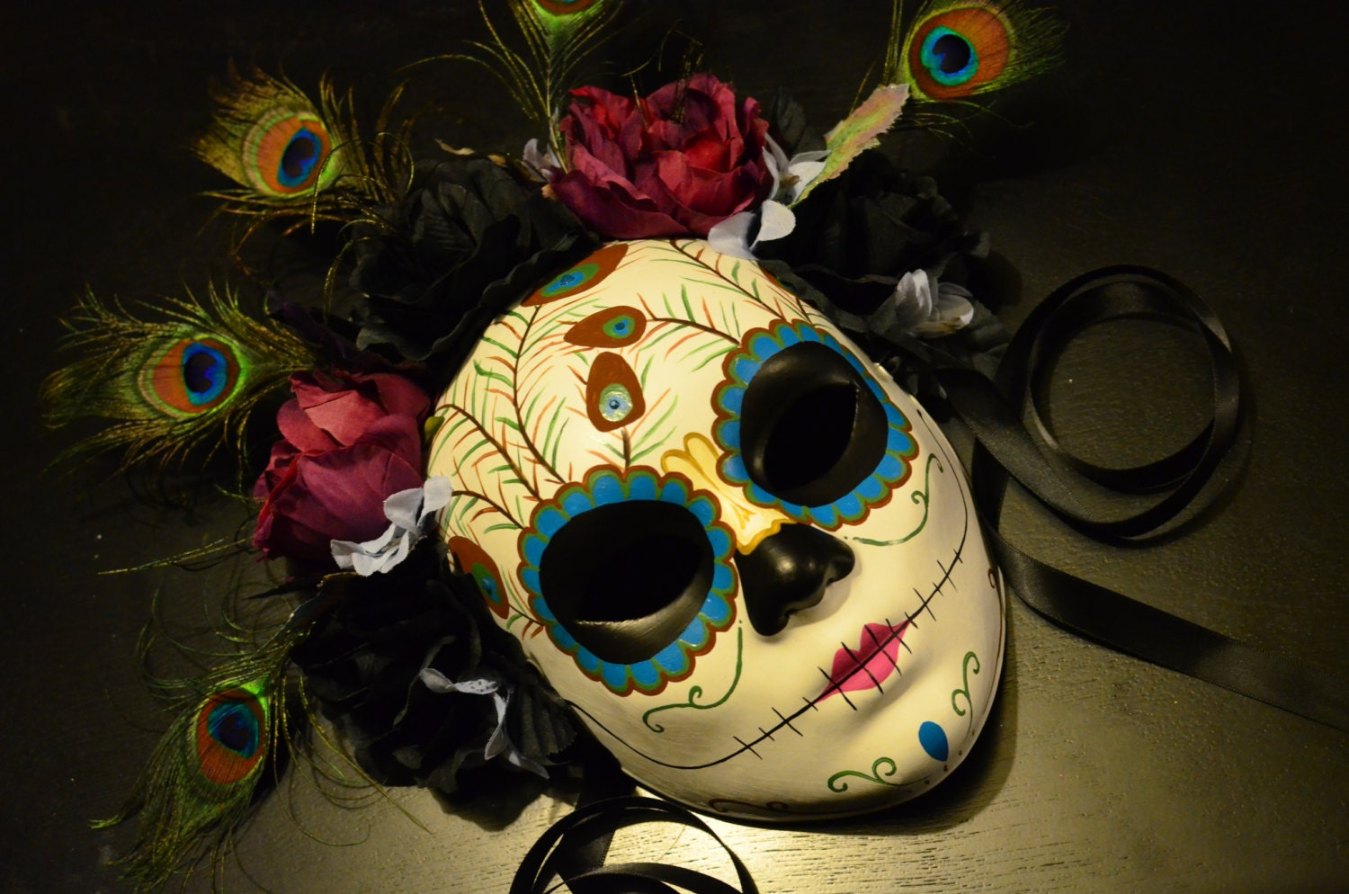Queen Peacock Day of the Dead Mask Skeleton sugar by ...